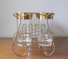 Vintage Gold Trimmed Atomic Highball Glasses with Serving Caddy - Set of 8 at whimsicalvintage.rubylane.com