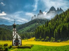 St Magdalena - The lone church in Santa Magdalena, South Tyrol, Italy with the Dolomites towering in the background. Grateful my family said yes to a small detour on our way towards Germany.