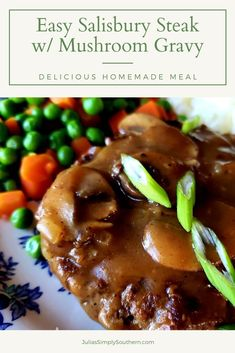 Southern Salisbury Steak Recipe with homemade mushroom gravy is a delicious classic meal and so easy to prepare. This is the best Salisbury steak recipe and your family will love it! It's a budget friendly meal and so good with that rich homemade gravy. #SalisburySteak #Salisburysteakwithmushroomgravy #groundbeefrecipes #hamburger #budgetmeals #familydinnerideas #southernfood #southernrecipes #juliassimplysouthern #easyfamilymeals Beef Recipes For Dinner, Ground Beef Recipes, Meat Recipes, Chicken Recipes, Cooking Recipes, Salisbury Steak Recipes, Easy Family Meals, Easy Meals
