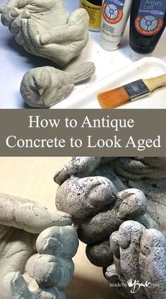 How To Antique Concrete To Look Aged–madebybarb Feature Congratulations on those great concrete masterpieces that you have poured! But don't you just love the look of really old concrete? This technique shows how to antique concrete to look aged as I am Cement Art, Concrete Crafts, Concrete Projects, Concrete Garden, Painting Concrete, Concrete Furniture, Concrete Leaves, Concrete Design, Concrete Planters