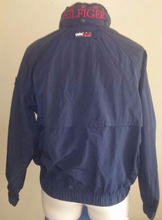 Vintage Tommy Hilfiger Mens WindBreaker Jacket Spell Out Sailing Hooded Medium #TommyHilfiger #Windbreaker