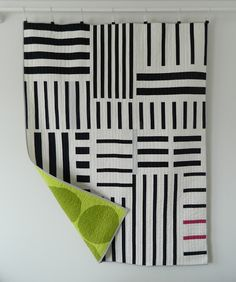 Beautiful modern striped quilt in a minimalist style.