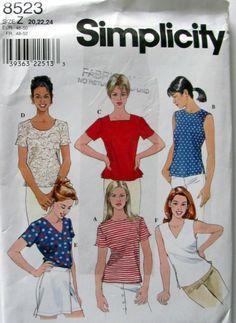 Simplicity 8523, Ladies Plus Size Tops Sewing Pattern, Pullover Top, Sleeveless Top, Short Sleeve Top Pattern, Uncut by OnceUponAnHeirloom on Etsy
