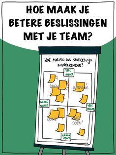 Wat is een goede opzet van een overleg om betere beslissingen te maken met je team. In plaats van rommelig, veel open eindjes en ontevreden teamleden, juist overzicht, betrokkenheid en support. Om