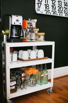 There are a myriad of ways to utilize a rolling cart. It can be used as everything from a bar cart (or better yet, coffee station!) to a nightstand. Wheels make it easier to move to different spots . . . like the living room, if you're entertaining.