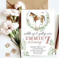 Your place to buy and sell all things handmade Horse Theme Birthday Party, Cowgirl Birthday, Fourth Birthday, 6th Birthday Parties, Girl Horse Party, Birthday Ideas, Birthday Cake, Farm Party Invitations, Pony Party