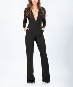 Another great find on #zulily! Black Fitted V-Neck Jumpsuit #zulilyfinds