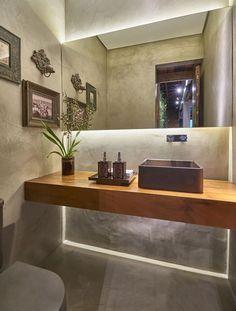 12 lavabos incríveis em tons de cinza com papel de parede, tecido, tinta ou pastilhas.  www.encantadahome.com.br  #lavabo #banheiros #bathroom #cinza #pastilhas #papeldeparede #grey