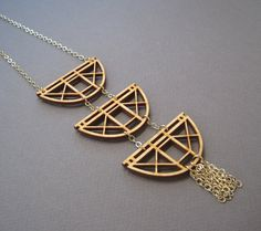 Chained Arch Necklace Laser Cut Wood Geometric by ShopJoyo on Etsy, $55.00