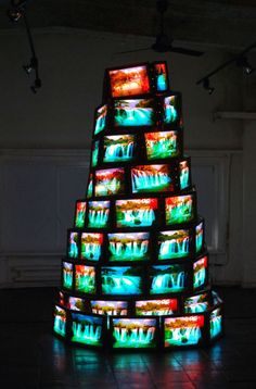 Goran Hassanpour - Tower of Babel, Obviously not as part of the set but as inpiration- Mary Christmas The Library Of Babel, Art Expo, Tv Installation, Art Installations, Nam June Paik, Instalation Art, Tower Of Babel, Digital Signage, Stage Design