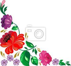 Wall Decal composition, leaf, plant, botany, blossom, ornate, bloom, tulip, folk, dahlia.