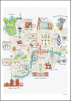 Illustrated map of famous London Landmarks including, Buckingham Palace, Tate Modern, Gerkin, Tower . Elephant And Castle, Buckingham Palace Instagram, Central London Map, Plan Ville, Palais De Buckingham, London Illustration, Tourist Map, London Landmarks, Thinking Day