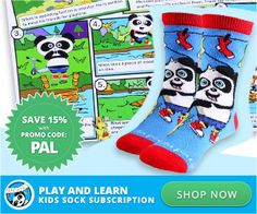 Panda Pals Sock Subscription was designed for children ages 3 to 8 with socks that snap together so they don't get lost!  Each Panda Pals Subscription includes 2 pairs of socks plus stickers and an educational activity.