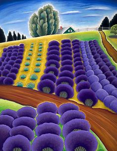 Lavender and Hidden House by oil pastel artist Jane Aukshunas - Counted cross stitch pattern in PDF format by Maxispatterns on Etsy Oregon Landscape, Abstract Landscape, Landscape Paintings, Tuscany Landscape, Pastel Landscape, Photografy Art, Hidden House, Naive Art, Whimsical Art