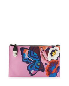 Prada Butterfly-Print Saffiano Clutch Bag Fall 2015