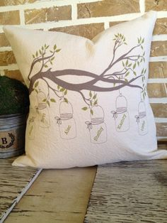 Mason Jar  Branch Pillow Personalized Family by SimplyFrenchMarket, $45.00