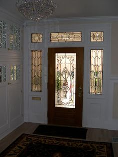 Beveled Glass Transom, Door, and Sidelights: