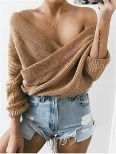 Chellysun Crossed Front Chunky Wrap Sweater Cozy oversized sweaters outfits for fall and winter cute chunky sweater cardigans for teens Summer Outfits, Casual Outfits, Fashion Outfits, Womens Fashion, Fashion Trends, Sweater Outfits, 90s Fashion, Girl Fashion, Summer Ootd