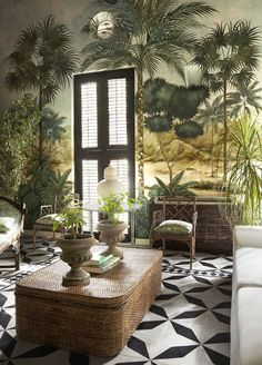 This Colombian Fashion Designer Brings a Sophisticated Spirit Into Her Cartagena Home A mural wall in a luxurious Cartagena home Tropical Home Decor, Tropical Interior, Tropical Houses, Tropical Colors, Tropical Furniture, Tropical Plants, Green Home Decor, Tropical Style, Tropical Vibes