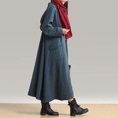 Pankou large burgundy hooded jacket long coat pocket / by dreamyil