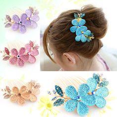 Charmig  Fashion Lady Girl Flower Pattern Alloy Rhinestone Barrette Hair Clip Comb for hair