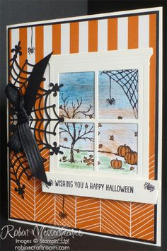 Stampin' Up! has such fun and gorgeous products in the 2015 Holiday Catalog! I've used four of these products in this Halloween card I made for one of my favorite customers: The Spider Web Doilies, Happy Haunting Designer Series Paper, Happy Scenes Stamp Set (3 images!), and the Hearth and Home Thinlits Dies. What fun to stamp spiders everywhere on the front of the card!