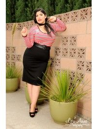 Hotrod Honey Dress in Red and White Stripe Knit - Plus Size