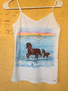 Horse Cami Tank Top, Horses, Personalized Hand Drawn Clothing, Custom Designed Clothing, We Draw Your Pets Or Anything On Clothing by DesigningInTheDesert on Etsy