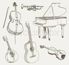 Výsledek obrázku pro musical instruments drawing