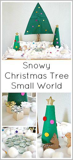 Snowy Christmas Tree Small World Play Scene~ Buggy and Buddy
