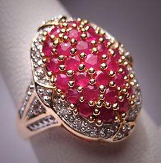 Antique Style Ruby Diamond Ring Wedding by AawsombleiJewelry
