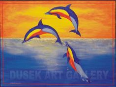 Acrlic Painted Owls On Canvas at Night   Aquatic, Dolphins mural on canvas,acrylic painting,sunset,ocean