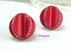 Vintage Earrings Red Celluloid Clear Rhinestone Retro by Vintage55, $16.00