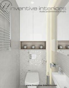 Projekt mieszkania Inventive Interiors - jasne wc - szarość i jasne drewno w łazience