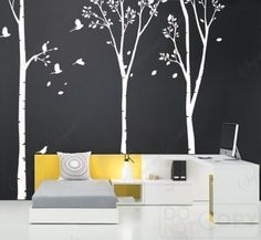"""Living Room Wall Decals Tree Murals with Flying Birds-Three Big Birch Trees(102""""H)- Modern Office Vinyl Wall Art Removable Wallpaper"""