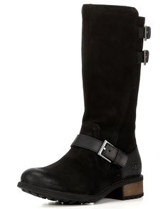 These Everglayde boots work beyond the colder months, pairing well with denim and casual dresses alike. Crafted from oily, burnished suede and embellished with leather straps, these classic tall boots feature low heels and cushioning insoles lined with plush wool for continuous comfort. A full side zipper on each boot makes for easier dressing and secure fitting.