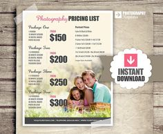 Photography Price List  Pricing List for by PhotographTemplates, $12.00