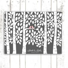 Anna Guest Book Tree - Grey Wedding Guest Book Alternative Poster - Guestbook Tree for 150 Guests in Grey