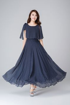 Items similar to Blue chiffon dress, women's dresses, prom dress, maxi dress… Blue Chiffon Dresses, Ball Dresses, Women's Dresses, Ball Gowns, Fashion Dresses, Summer Dresses, Chiffon Maxi Dress, Dot Dress, Dress Skirt