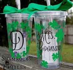 St Patrick's Day Shamrock tumbler  16oz by lyricalletters on Etsy, $16.00