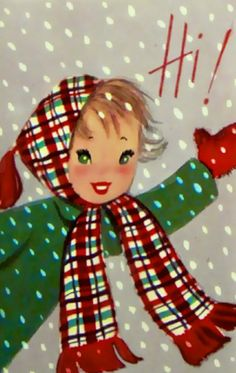 Sweet Vintage Christmas Card with girl bundled up in tartan.