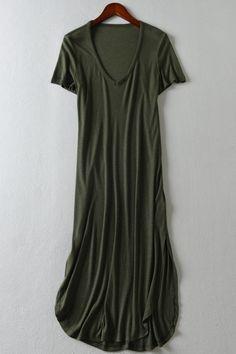 Short Sleeve Pure Color V Neck Maxi Dress