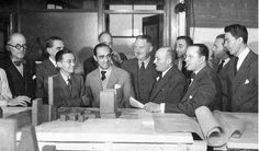 Le Corbusier (far left) and Oscar Niemeyer (center), along with other members of the United Nations design team, in 1940s