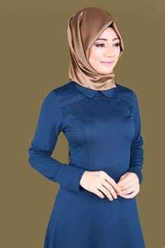 Bebe Yaka Tesettür Elbise LRJ6154 İndigo - Thumbnail