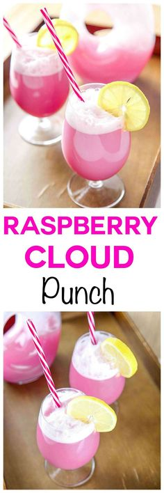 Raspberry Sherbet Punch Recipe: Sweet and tangy raspberry cloud punch. SO refreshing, SO easy!