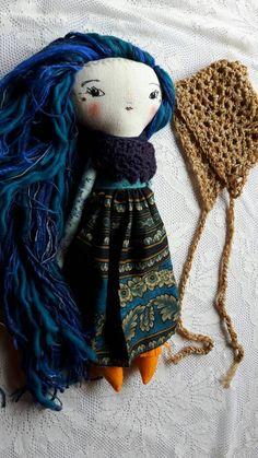 17 ish JOY DOLL handmade cloth doll with long blue