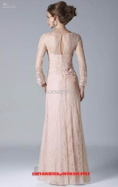 Champagne Long Sleeved Lace Chiffon Evening Dress Mother of the Bride Gown with Bolero Jacket Evening Dresses With Sleeves, Chiffon Evening Dresses, Lace Chiffon, Entourage Gowns, Long Skirt And Top, Bridesmaid Dresses, Bride Dresses, Bridesmaids, Mother Of The Bride Gown