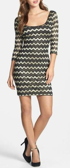 GUESS Metallic Stripe Lace Sheath Dress available at Pretty Dresses, Beautiful Dresses, Classy Outfits, Cute Outfits, Lace Sheath Dress, Street Style, Lace Sleeves, Fashion Outfits, Womens Fashion