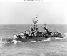 USS Gyett, a Gearing class Destroyer, shown here after her modification to a Guided missile Destroyer in '56. Built by Federal Shipbuilding & Drydock Co of Kearney Jersey, she was commissioned too late(02/07/45) to take an active part in WWII. She never saw active service she was finally stricken off 22/10/69 and was subsequently sunk as a target ship on 11/06/70.