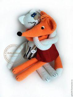 Купить Вязаные игрушки-обнимашки - вязаная игрушка, Вязание крючком, кот, лиса игрушка